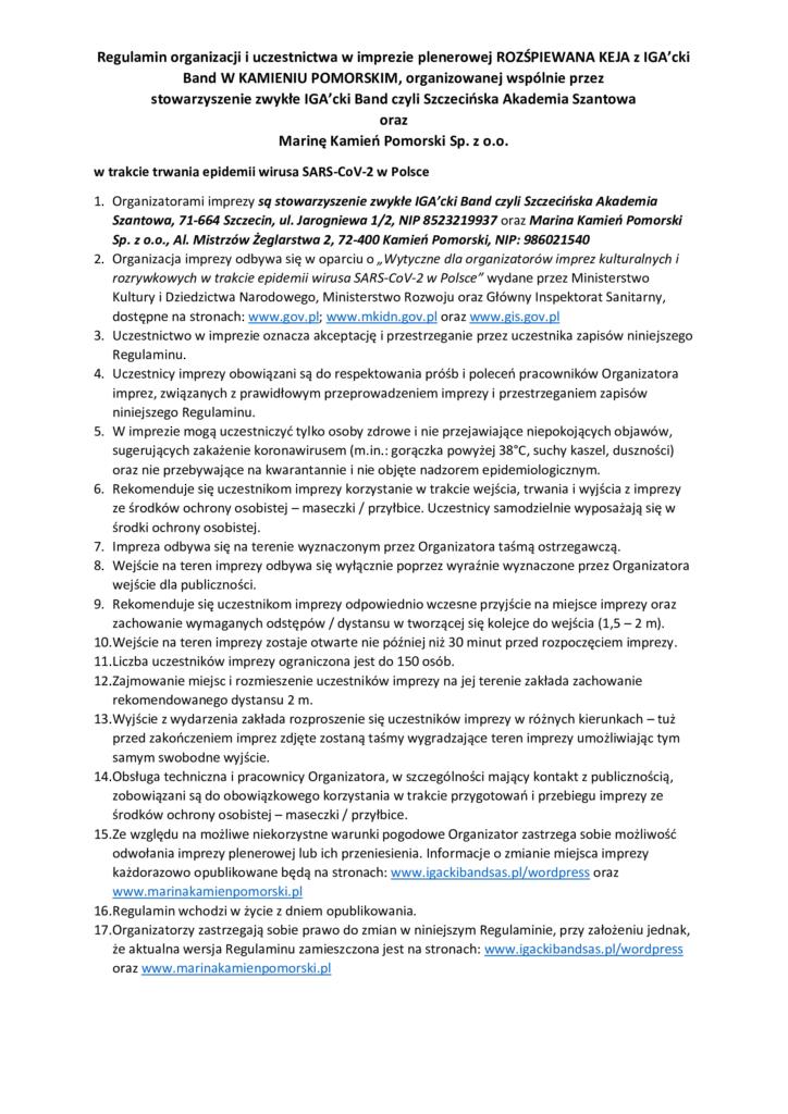 Regulamin wydarzenia ROZŚPIEWANA KEJA z IGA'cki Band W KAMIENIU POMORSKIM